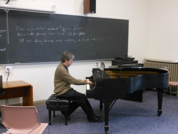 Practicing piano at Pebody school of music in Baltimore