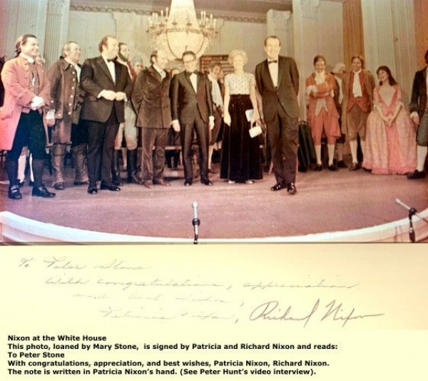"""""""1776""""  Mary B Phillips, Williams Daniels, Howard DeSilva, Stephen Schwartz and Broadway Cast at Whitehouse"""