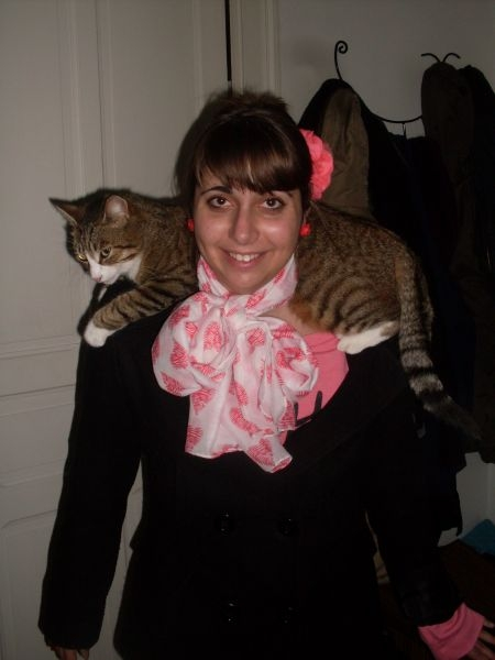 My host family's French cat, Edgar and me. (Taken during study abroad trip in Pau, France.)