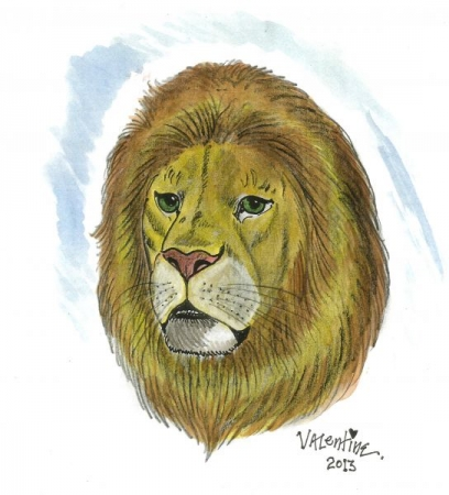 """Lion head"" pencil and watercolor"