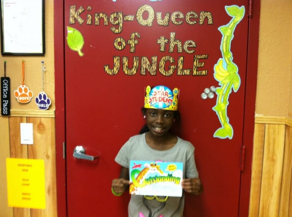 """My weekly student of the week, also known as my """"Queen of the Jungle"""" who gets to have a pizza lunch with me the following week. :)"""
