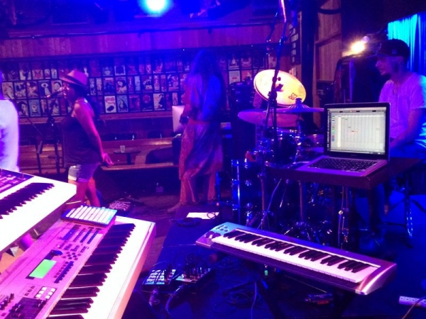 My setup for a gig at the Belly-Up Tavern, Encinitas, CA.
