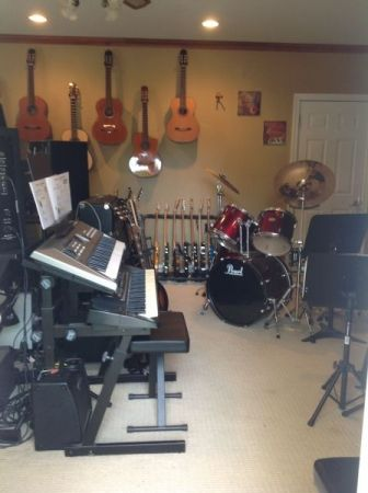 Drum kit, synthesizers, guitars, recording gear, etc.