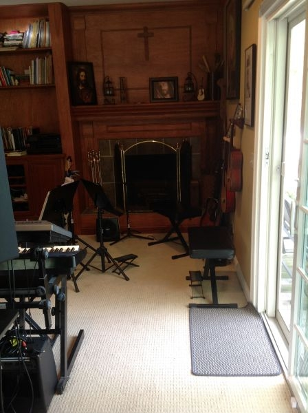 Cozy guitar lesson area for students.