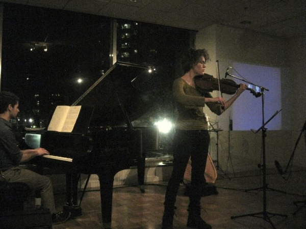 "Performing ""The North Shore"" by Gavin Bryars, with pianist Mitchell Falconer"