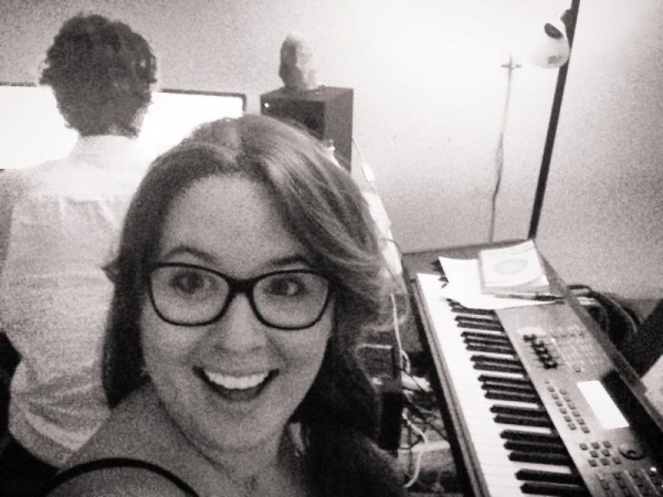 student Paige Palmer and I doing some recording