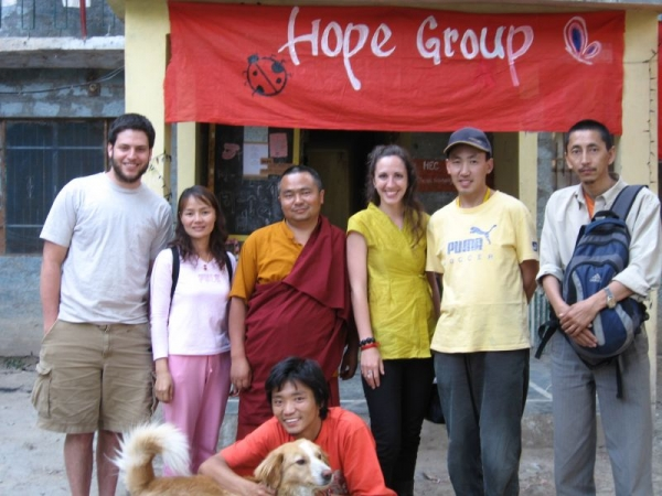 Teaching English to Tibetan refugees in India in 2008.