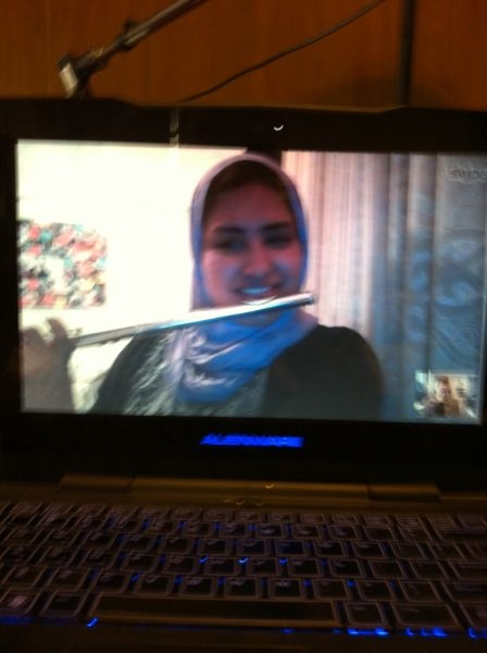This is a screen shot of a Skype lesson with my student in Egypt, Mona. You can see me in the lower right corner.