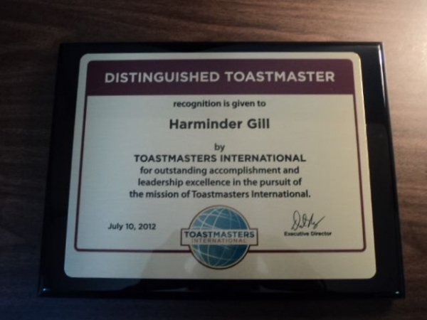 This is my plaque for completing the highest level of achievement, DTM, in toastmasters for public speaking and leadership.