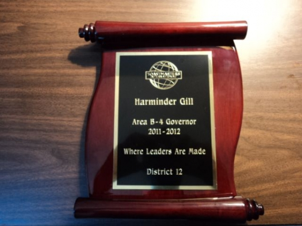 This is my award for serving as Area B4 Governor in the toastmasters program.