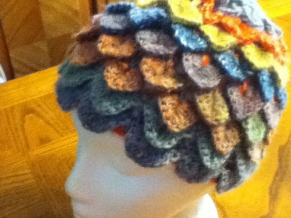 Crocodile stitch hat made with variegated