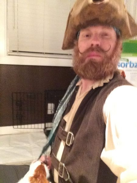 "This was me in my Costume playing the Pirate King in ""The Pirates of Penzance"" at Marylhurst University, June 2014.  Lots and lots of fun!"