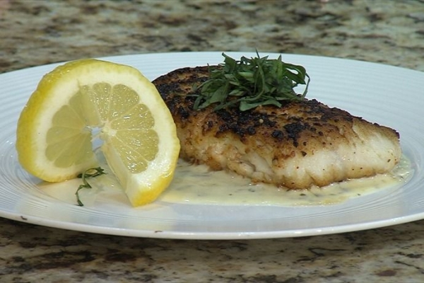 Pan-Seared Haddock with a Basil Pesto Cream Sauce. Made this on CBS-WRTV-Channel 5 Live