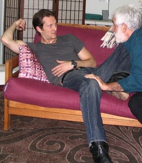 "Brian and David rehearsing a scene from ""Entertaining Mr. Sloane"""