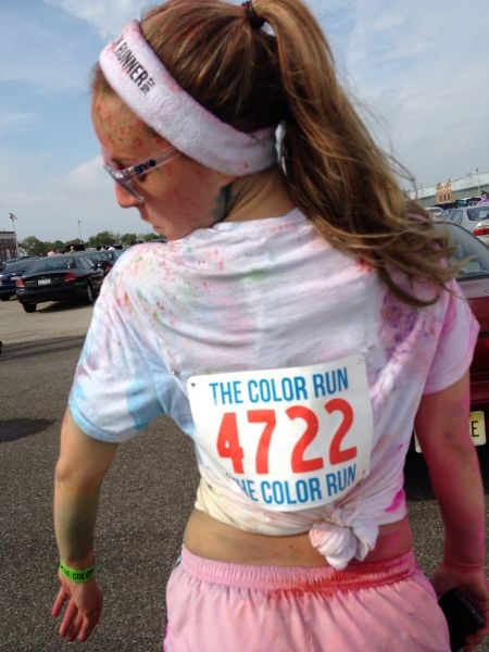 Sprinkled with colors after finishing the Color Run
