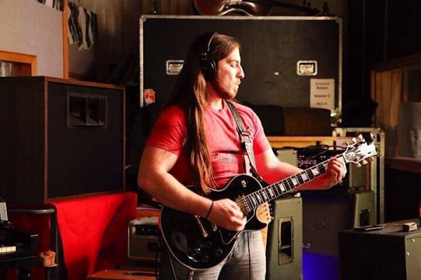 A photo from a recording session in early 2014 with Exit North at Transformerz Recording Studios in Burbank