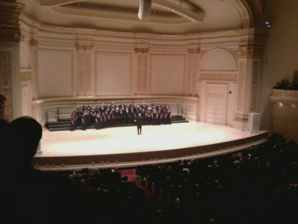 Undergrad chorale performance at Carnegie Hall.