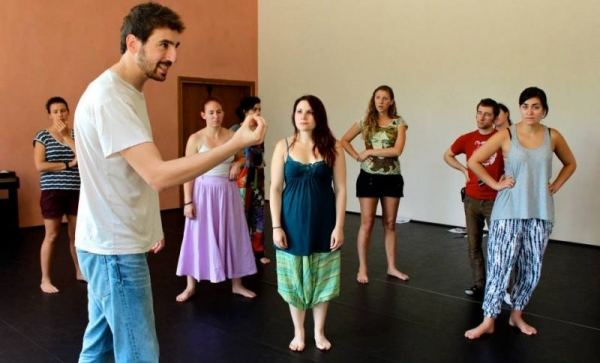 Leading an acting workshop at the CrisisArt Festival in Arezzo, Italy (Accademia dell'Arte).
