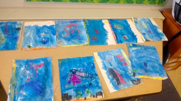 Final project in Kindergarten 2013. Students created underwater pictures to show the living and not-living things in the ocean.