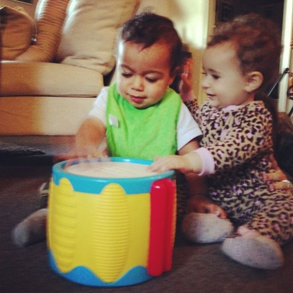 baby mel and baby rocco figuring out percussion sounds ... so cute for words