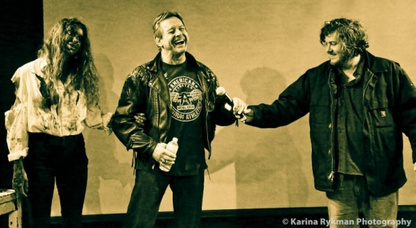 Roddy Piper and I in New York promoting Pro Wrestlers vs. Zombies
