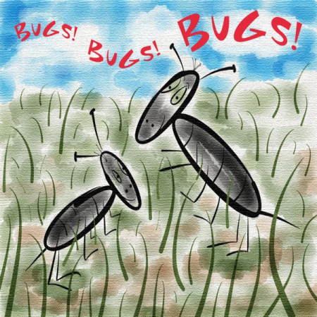 """Bugs! Bugs! Bugs!"" An original song by Janis Vaile available on iTunes. Original record cover artwork by Janis Vaile"