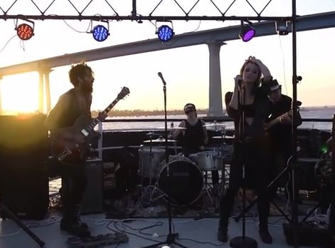 A photo from a live show I played on a Yacht with a rock cover band
