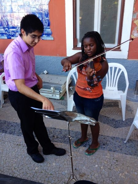 Teaching violin in Lisbon, Portugal.
