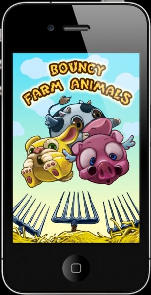 """Main screen to a video game I made graphics for, """"Bouncy Farm Animals"""" by Jubi Apps"""