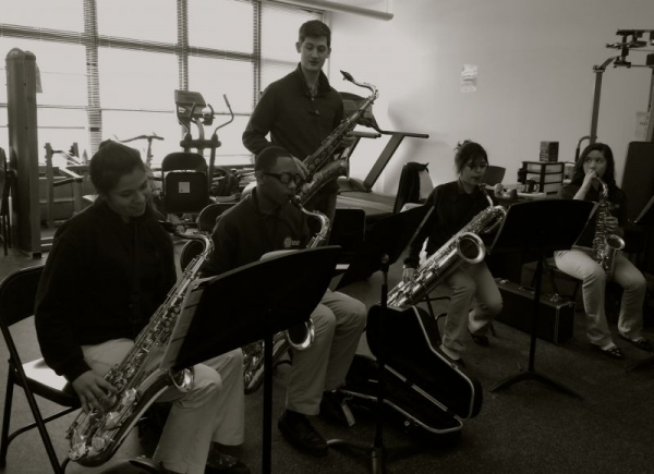 Teaching saxophone sectionals at Rauner Prep High School.
