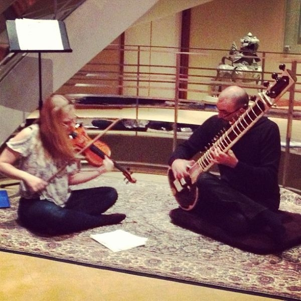 Performing at the Rubin Museum of Himalayan Art in New York City with sitar player Gian Luigi Diana