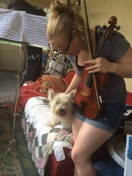 My little west highland terrier Bridget likes to visit me while I practice!