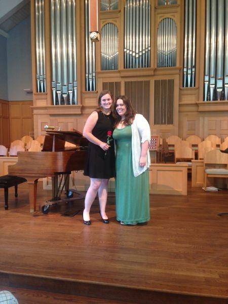 With Student Vocalist Samantha Evans at our Studio's Spring Recital at Lakeside Presbyterian Church
