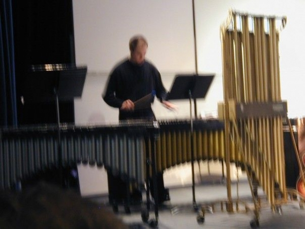 A blurry photo of me playing marimba, vibraphone, and chimes!