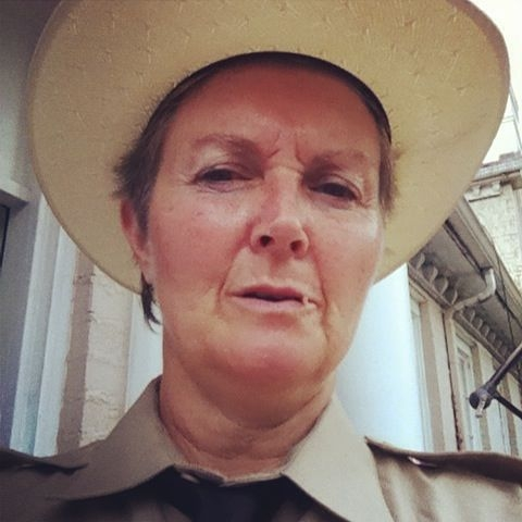 On set as Sheriff Nancy!