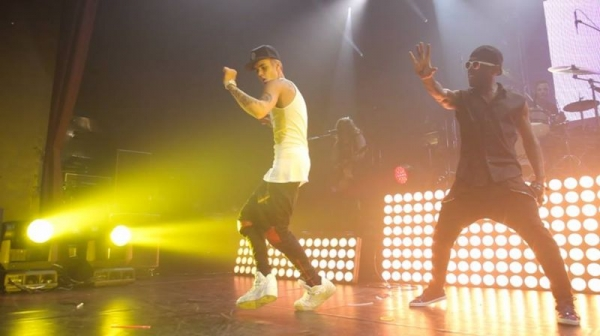 Random moment when Justin Bieber surprised Cody Simpson on stage while we were performing...