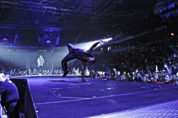 Stage pic from Europe with Cody Simpson when we were opening for Justin Bieber..