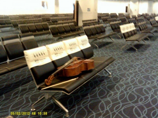 Tokyo Airport- musician's can't take even a day away from practice!