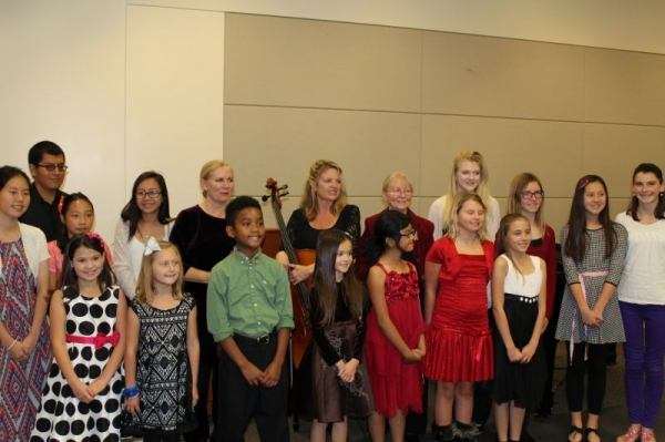 Anna Rose with students and colleagues at combined Library Recital on 12/7/2014