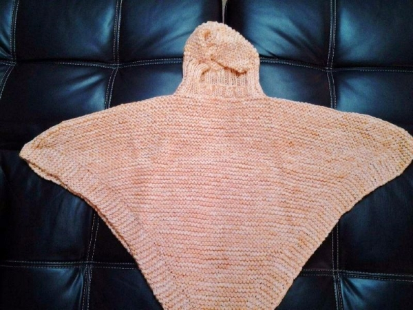 Hooded Poncho (Knit)  Garter, Rib. Increase, Decrease,  Picking-up Stitches, Seaming