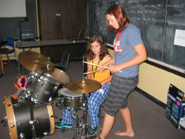 Demonstrating a hi-hat technique at Girls Rock n Roll Retreat in Minneapolis, MN - July 2011