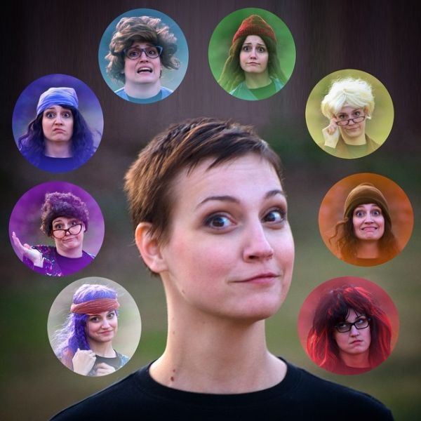 Promotional shot for one-woman character driven comedy show