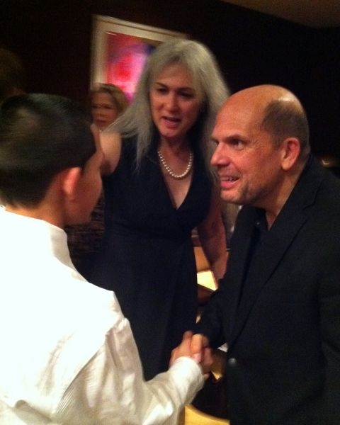 Introducing a student to Maestro Jaap van Zweden of the DSO