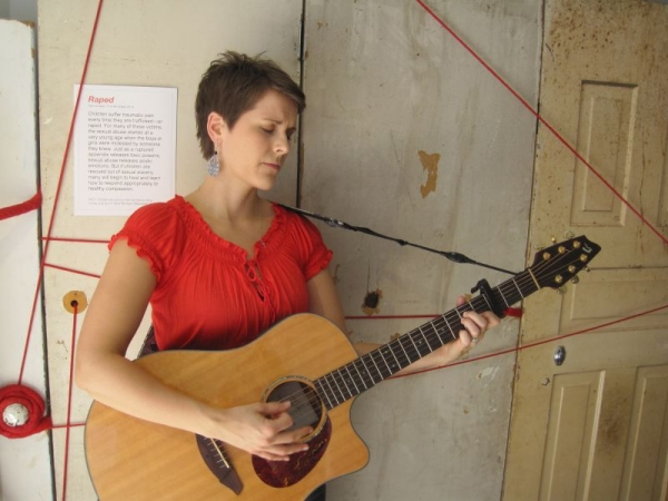 Performing at Artprize 2014 for The Scarlet Cord, an exhibit to raise awareness about human trafficking.