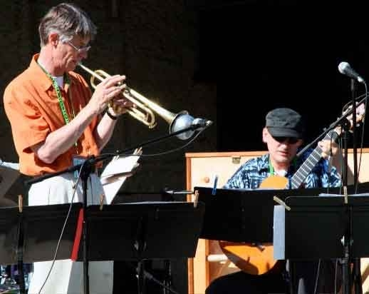 Performing onstage with trumpeter at the Minot Integrity Jazz Festival.