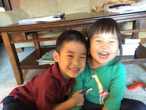Two little students taking my playful Chinese/Mandarin class.