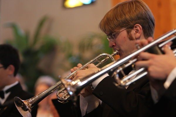 Performing trumpet with the Space Coast Brass Ensemble