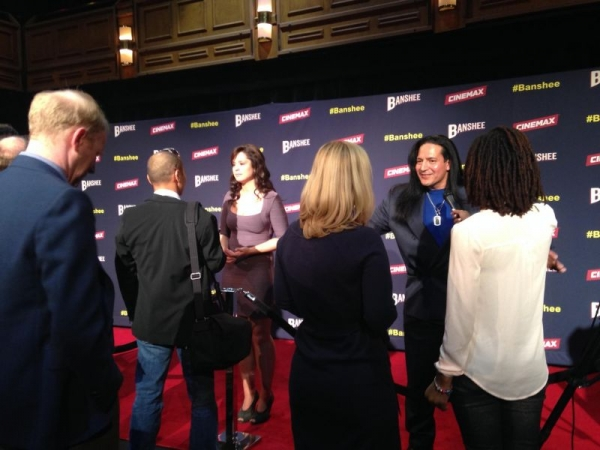 Chelsea doing interviews at the Banshee Season 2 Premiere