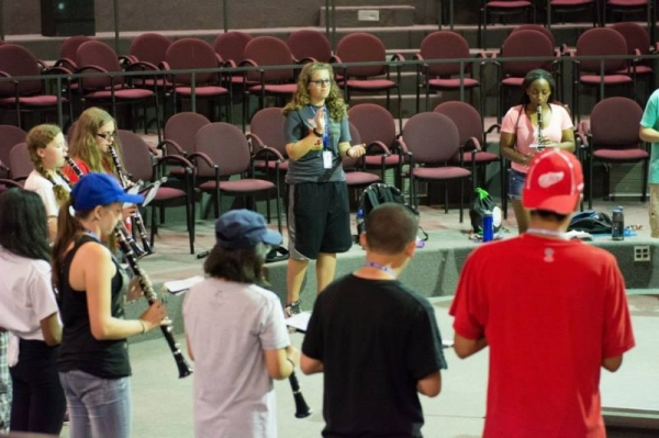 Leading sectionals with the 37 member clarinet section at RHS in the heat of August.