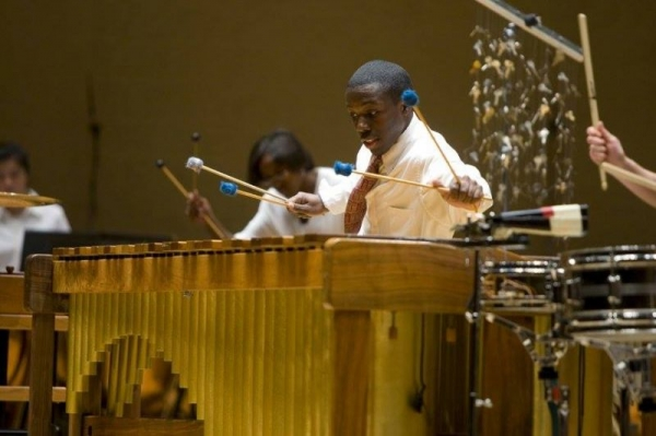 Performing Marimba Spiritual with the Percussion Scholarship Group